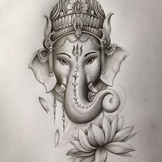 Make this Ganesha Chathurthi 2020 special with rituals and ceremonies. Lord Ganesha is a powerful god that removes Hurdles, grants Wealth, Knowledge & Wisdom. Ganesha Sketch, Ganesha Drawing, Lord Ganesha Paintings, Ganesha Art, God Tattoos, Body Art Tattoos, Sleeve Tattoos, Elephant Tattoo Design, Elephant Tattoos