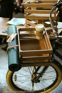 Perfect weekend project  wood bike basket with coffee holder and yoga mat  straps. FRIDABIKE . cargo bike 274c68d077b63