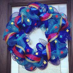 Autism Awareness Wreath http://www.etsy.com/shop/GlamDoorFlair