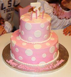 polka dot pink birthday cake