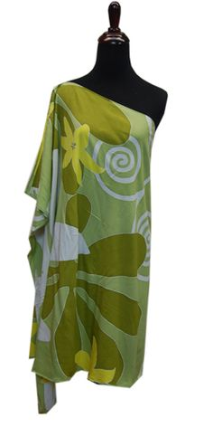 Hawaiian Plus Size Green Tiare One shoulder Short Dress, Jade Fashion - Aloha Wear Clothing Store