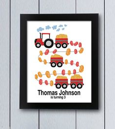 Tractor farm party Guest Book first birthday fingerprint / printable pdf / boy thumbprint tree guestbook Baby shower ideas family john