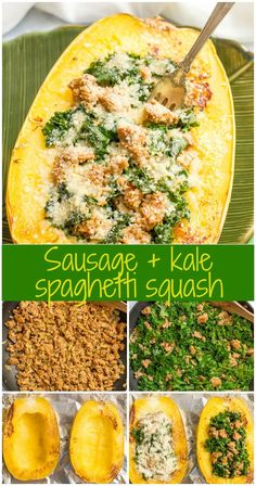Stuffed spaghetti squash with sausage and kale is an easy recipe for a delicious, hearty dinner! Easy Soup Recipes, Paleo Recipes, Dinner Recipes, Cooking Recipes, Yummy Recipes, Amazing Recipes, Crockpot Recipes, Breakfast Recipes, Sausage And Spaghetti Squash