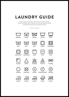 Stylish laundry guide poster with explanations of all the different laundry symbols. It is a nice and practical poster to hang in the laundry room and it is also a perfect gift for anyone with a washing machine at home. Guide Vin, Packing List Beach, Laundry Symbols, Wine Poster, Poster Poster, Poster Store, Love Posters, Posters For Room, Bathroom Posters