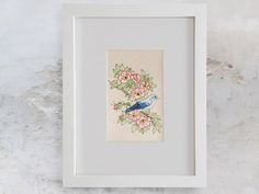 Blue Bird on a Wild Red Roses Branch. Floral by FabulousCatPapers Thread Art, Paper Embroidery, Nature Decor, Japanese Design, Botanical Art, Blue Bird, Red Roses, Fresh, Wall Art
