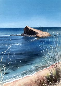 "From my exhibition: ""Aguas del Cabo"". Soft pastel and water colour on Fabriano paper. By Jorge Gómez Sea Paintings, Cabo, Pastel, Waves, Bts, Watercolor, Colour, Outdoor, Landscape Paintings"