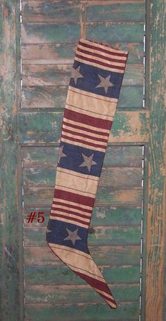 Primitive Stocking  Skinny Stocking  by PrairiePrimitives on Etsy, $16.00