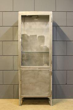 Industrial vintage steel medical cabinet