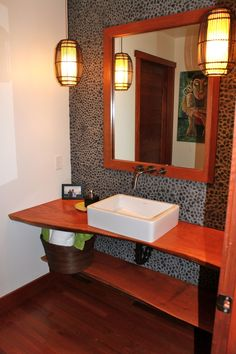 reclaimed wood counter + mirror frame in cool master bath