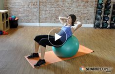 5-Minute Beginner Abs Workout with Ball Video via @SparkPeople