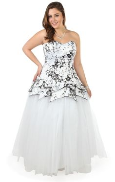 61b98a7c8f5 Deb Shops plus size strapless black white floral bodice long tulle  prom   dress .