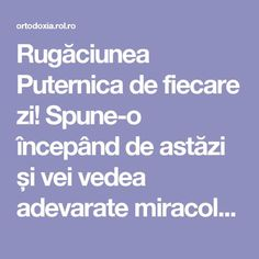 Rugăciunea Puternica de fiecare zi! Spune-o începând de astăzi și vei vedea adevarate miracole | ROL.ro Baba Vanga, Prayer Board, Orthodox Icons, Reflexology, Cross Stitch Charts, Personal Development, Prayers, Health Fitness, Healing