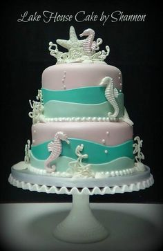 Under the Sea Themed Baby Shower Cake - Cake by LakeHouseCakebyShannon Beach Baby Showers, Mermaid Baby Showers, Cupcakes, Cupcake Cakes, Baby Shower Cakes, Baby Shower Themes, Seahorse Cake, Beach Themed Cakes, Pearl Cake