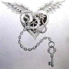 Steampunk Heart and Key Tattoo Design