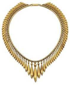 A gold archeological revival necklace. Designed as a graduated fringe of tapered drops with spherical surmounts to a barrel-shaped clasp length approximately 400mm accompanied by a later fitted case by Boodle and Dunthorne.