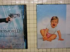 Funny/Unfortunate Billboard Placements: That Selene is a ruthless bitch. All human babies must die! On a Brooklyn subway platform. Funny Ads, Funny Signs, Hilarious, Advertising Fails, Johnny Sins, Human Babies, Nyc Subway, Poor Children, College Humor