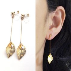Leaf Clip On Earrings,Gold Clip On Earrings,Dangle Clip Earrings, Comfortable Clip-ons, Invisible Clip On Earrings, No Pierced Earrings by MiyabiGrace on Etsy