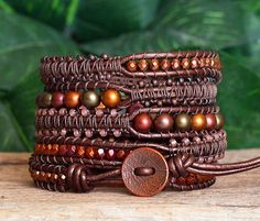 Brown and Bronze Iris Beaded Leather and Macrame Modern Multi-Wrap Bracelet Wrap Bracelets, Beaded Bracelets, Leather Jewelry, Beaded Jewelry, Beaded Leather Wraps, Steampunk Necklace, Diy Jewelry Making, Artisan Jewelry, Jewelry Crafts