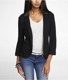 ead studs at the lapel keep you geared up to rock out. Notch lapel, stud embellishment around collar Open front Three quarter cuffed sleeves Horizontal slit hand pockets Cotton/