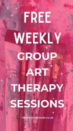 """Promotional Image for Pinterest - """"Free weekly group art therapy sessions"""" Used paint brushes faint in the background Art Journal Prompts, Art Journal Techniques, Journal Layout, Journal Ideas, Good Tutorials, Craft Tutorials, Hand Lettering For Beginners, Art Journal Backgrounds, Art Journal Tutorial"""
