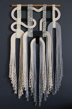 Himo Art Mayumi Sterchi Auctions her ceramic fiber art Macrame Wall Hanging Patterns, Macrame Art, Macrame Design, Macrame Projects, Macrame Knots, Macrame Patterns, Quilt Patterns, Macrame Headband, Canvas Patterns