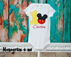 Boys 1st Birthday Mickey Mouse Onesie Shirt by monogram4me on Etsy, $20.00-- For Harrison and Hudson!!
