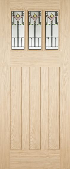Tuscany Tulip External Oak door features traditional tall flat panels and triple glazed leaded units, with an optional decorative shelf. Glazed External Doors, External Oak Doors, Tuscany, Tulips, New Homes, Shelves, Decorative Shelf, Traditional, Contemporary