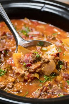 Crock Pot Cabbage Roll Soup combines cabbage, onion, beef & simmered in a rich beef & tomato broth in your slow cooker. An easy family meal.