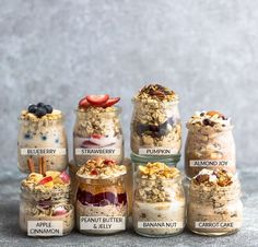 Overnight Oats - 8 Ways - simple no-cook make-ahead oatmeal just perfect for bus. - - All and more in Overnight Oats - 8 Ways - simple no-cook make-ahead oatmeal just perfec Overnight Oats Receita, Best Overnight Oats Recipe, Overnight Oats With Yogurt, Easy Overnight Oats, Peanut Butter Overnight Oats, Blueberry Overnight Oats, Make Ahead Oatmeal, Healthy Make Ahead Breakfast, How To Make Oats