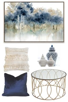 Room with white neutral base, blue and gold accents, and soft textures for warmth Blue And Gold Living Room, Navy Living Rooms, Blue Living Room Decor, Glam Living Room, Living Room Accessories, Living Room Accents, Living Room Color Schemes, Living Room Designs, Gold Rooms