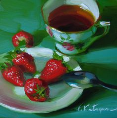 Elena Katsyura | OIL | Strong Tea and Strawberries