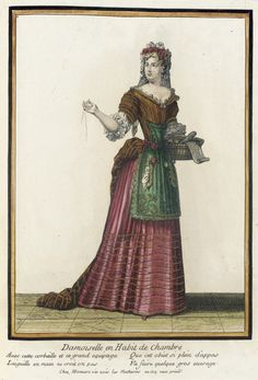 Recueil des modes de la cour de France, 'Damoiselle en Habit de Chambre'  Henri Bonnart (France, 1642-1711)  France, Paris, 1678-1680, bound 1703-1704  Prints  Hand-colored engraving on paper
