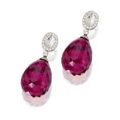 Pair of rubellite and diamond pendant earrings