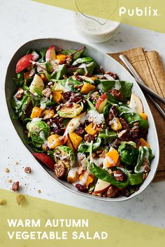Share this Warm Autumn Vegetable Salad from Publix Aprons at your Thanksgiving table; it's the perfect side dish for the season. Just microwave one package of candied butternut squash. Cook Brussels sprouts cut-side down in a pan until browned and tender. Then, coarsely chop a sweet apple. Put it all in a large salad bowl with baby kale and sunflower kernels. Toss until combined, and you're ready to share this seasonal side at your table. Thanksgiving Table, Thanksgiving Recipes, Fall Recipes, Holiday Recipes, Holiday Themes, Dinner Recipes, Warm Autumn, Vegetable Salad, Vegetable Recipes