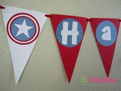 Items similar to Captain America Birthday Banner on Etsy Avengers Birthday, Superhero Birthday Party, 6th Birthday Parties, Happy Birthday Banners, Boy Birthday, Birthday Ideas, Captain America Party, Captain America Birthday, Party Time