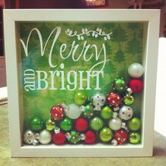 Merry-and-Bright Shadow Box Tutorial Note! She shows three different ideas for these Christmas Shadow Boxes. Christmas Shadow Boxes, Noel Christmas, Winter Christmas, All Things Christmas, Christmas Ornaments, Christmas Projects, Holiday Crafts, Holiday Fun, Festive