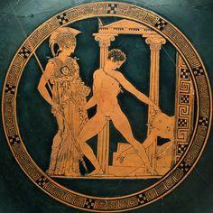 ***Copa de Aison, Teseo mostrando su triunfo sobre el Minotauro a Atenas, S. V a.C. Madrid, Museo Arqueológico Nacional.