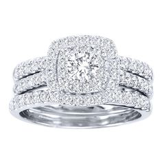 De Couer 10k White Gold 1 1/2ct TDW Diamond Double Halo Bridal Ring Set (H-I, I2) - Overstock™ Shopping - Top Rated De Couer Bridal Sets