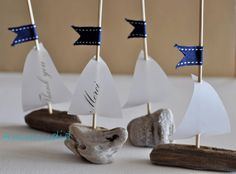 Personalized wedding favors-Thank you cards-Personalized place cards -Driftwood sailboat with printed sail-beach wedding & bridal shower on Etsy, $4.80