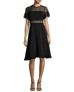 Shop Mirada Short-Sleeve Lace Crepe Cocktail Dress from Shoshanna at Neiman Marcus Last Call, where you'll save as much as on designer fashions. Fit And Flare Cocktail Dress, Short Cocktail Dress, Cocktail Dresses, Flare Dress, Formal Dresses, Lace Dresses, Dress Lace, Crepe Dress, Dress Outfits