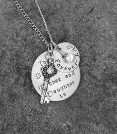Hand Stamped Necklace-Mother Daughter Necklace- The Love Between a Mother and Daughter is Forever