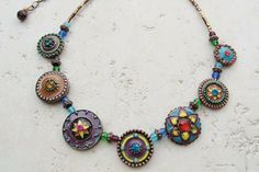 """""""Fiesta"""" handmade necklace made with rhinestones and enamel"""