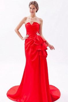 Buy brush train strapless ruched appliqued beauty pageant dresses from beautiful pageant dresses collection, strapless neckline column/sheath in red color,cheap dress with zipper back and bush train for prom formal evening . Junior Homecoming Dresses, Cute Prom Dresses, Beautiful Prom Dresses, Bridal Dresses, Red Evening Gowns, Cheap Evening Dresses, Cheap Wedding Dress, Designer Wedding Dresses, Silhouette