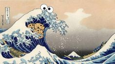 Me want Great Wave: Cookie Monster takes his cookies to 1830s Hokusai ukiyoe woodblockpainting