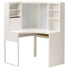 IKEA - MICKE, Poste de travail d'angle, blanc, , Vous pouvez faire place nette sur votre bureau en écrivant vos notes sur le tableau magnétique sur le panneau arrière. Ou en y accrochant vos listes de tâches à l'aide d'aimants.Vous pouvez régler les tablettes pour y placer différents objets et les ajuster à nouveau si besoin pour optimiser ainsi l'espace disponible.Prises et câbles masqués mais accessibles grâce au passage de câbles à l'arrière.Vous pouvez fixer les p...