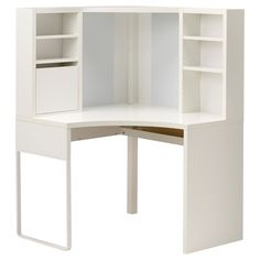 This is kinda AWESOME and so cheap! Good for small spaces! MICKE Corner workstation - white - IKEA