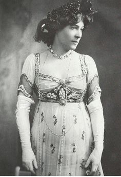 Lillie Langtry in an empire style dress by Jacques Doucet