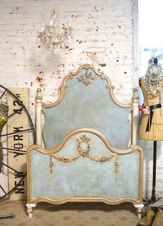 French Bed Painted Cottage Shabby Chic La Petite Marie Antoinette Romantic Twin / Full / Doulble Bed