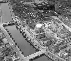Aerial view of O'Donovan Rossa Bridge Aerial view of O'Donovan Rossa Bridge with Father Mathew Bridge in the distance. © Courtesy of Irish Architectural Archive Dublin Street, Dublin City, Dublin Ireland, Ireland Travel, Old Pictures, Old Photos, Gone Days, West Yorkshire, Northern Ireland