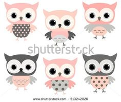 Cute pink and grey cartoon owls vector set for baby showers, birthdays and invitation designs Baby Girl Owl, Baby Owls, Creative Flyer Design, Creative Flyers, Creative Art, Gray Owl, Pink Owl, Owl Vector, Free Vector Art